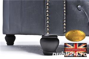Canapea Chesterfield Brighton Vintage Black - imagine 8