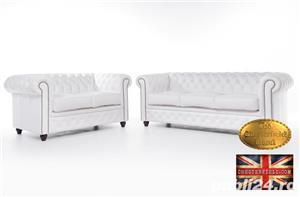 Set canapele  din piele naturala- Alb-2/3 locuri -Autentic Chesterfield Brand -IN STOC - imagine 1