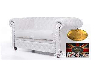 Set canapele  din piele naturala- Alb-2/3 locuri -Autentic Chesterfield Brand -IN STOC - imagine 3
