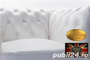 Set canapele  din piele naturala- Alb-2/3 locuri -Autentic Chesterfield Brand -IN STOC - imagine 5