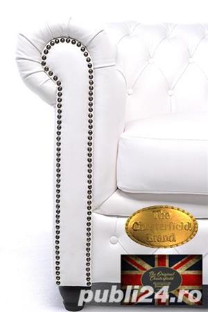 Set canapele  din piele naturala- Alb-2/3 locuri -Autentic Chesterfield Brand -IN STOC - imagine 4