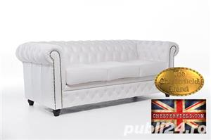 Set canapele  din piele naturala- Alb-2/3 locuri -Autentic Chesterfield Brand -IN STOC - imagine 2