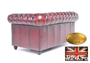 Canapea din piele naturală -Roșu Antique -2 locuri -Autentic Chesterfield Brand-IN STOC - imagine 7