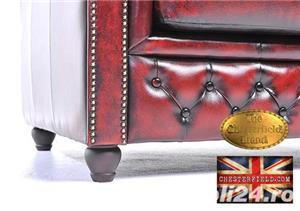 Canapea din piele naturală -Roșu Antique -2 locuri -Autentic Chesterfield Brand-IN STOC - imagine 8