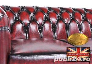 Canapea din piele naturală -Roșu Antique -2 locuri -Autentic Chesterfield Brand-IN STOC - imagine 4