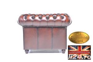 Set canapele din piele naturală -Maro Antique -1/2 locuri-Autentic Chesterfield Brand -IN STOC - imagine 6