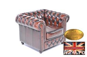 Set canapele din piele naturală -Maro Antique -1/2 locuri-Autentic Chesterfield Brand -IN STOC - imagine 3