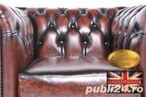 Set canapele din piele naturală -Maro Antique -1/2 locuri-Autentic Chesterfield Brand -IN STOC - imagine 5