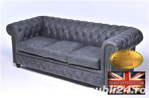 Canapea  vintage din piele naturala-Negru vintage -3 locuri-Autentic Chesterfield Brand-IN STOC - imagine 3