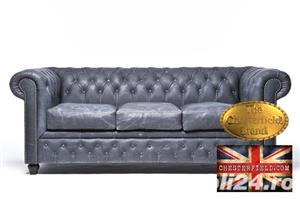 Canapea  vintage din piele naturala-Negru vintage -3 locuri-Autentic Chesterfield Brand-IN STOC - imagine 1