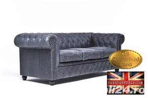 Canapea  vintage din piele naturala-Negru vintage -3 locuri-Autentic Chesterfield Brand-IN STOC - imagine 2