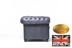 Canapea  vintage din piele naturala-Negru vintage -3 locuri-Autentic Chesterfield Brand-IN STOC - imagine 5