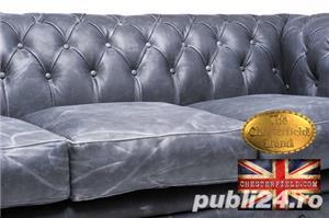 Canapea  vintage din piele naturala-Negru vintage -3 locuri-Autentic Chesterfield Brand-IN STOC - imagine 4
