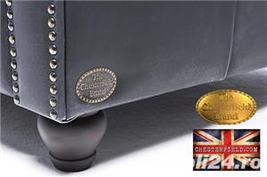 Canapea  vintage din piele naturala-Negru vintage -3 locuri-Autentic Chesterfield Brand-IN STOC - imagine 8