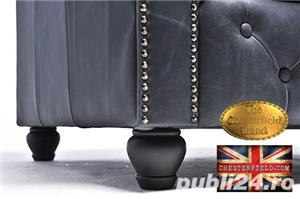 Canapea  vintage din piele naturala-Negru vintage -3 locuri-Autentic Chesterfield Brand-IN STOC - imagine 9