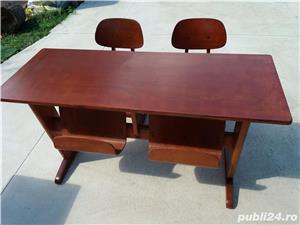 birou cu 2 scaune ptr. copii tip scoala - imagine 1