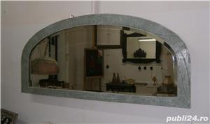 Oglinda veche din cristal cu rama din lemn, reconditionata (Mobila) - imagine 1