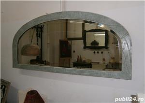 Oglinda veche din cristal cu rama din lemn, reconditionata (Mobila) - imagine 8