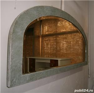 Oglinda veche din cristal cu rama din lemn, reconditionata (Mobila) - imagine 5