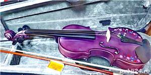 Set Vioara 4/4 culoare mov/lila fete arcus+toc transport+barbie+sacaz - imagine 3
