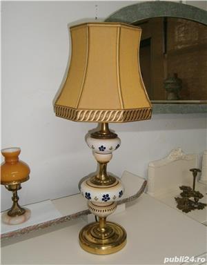 Lampadar vechi cu picior din portelan si metal (Lampa/Veioza abajur) - imagine 2
