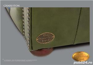 Canapea Autentica Chesterfield Brand model Charlston din piele naturala-Handmade  - imagine 6