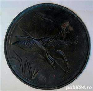 Farfurie decor relief din cupru 22 cm - 150 grame - cadou ideal-lebede - imagine 2