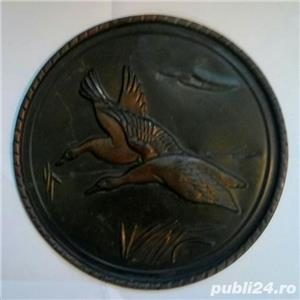 Farfurie decor relief din cupru 22 cm - 150 grame - cadou ideal-lebede - imagine 1