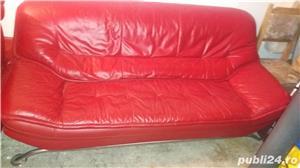 Vand set 2 canapele piele originala +1 fotoliu din piele - imagine 5