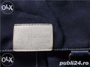 Geanta f frumoasa de la ARMANI Jeans, piele+material impermeabil, marime medie, culoare neagra - imagine 2
