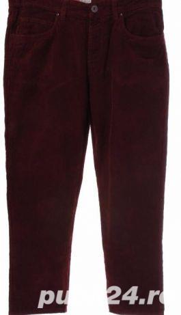 pantaloni dama de la BENETTON, din catifea raiata, culoare visiniu inchis, M, L, XL, 2XL - imagine 2
