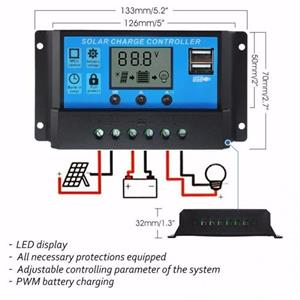 Regulator solar 10A 20A 30A 12V/24V LCD Controler PWM - imagine 5