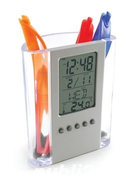 Ceas LCD Auriol,cu suport de pixuri,afiseaza temperatura,ora,data,ziua,nou - imagine 3