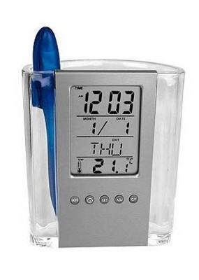 Ceas LCD Auriol,cu suport de pixuri,afiseaza temperatura,ora,data,ziua,nou - imagine 1