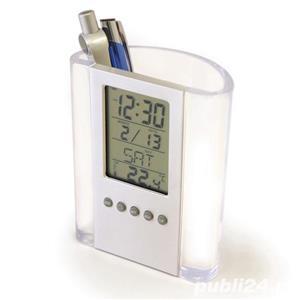 Ceas LCD Auriol,cu suport de pixuri,afiseaza temperatura,ora,data,ziua,nou - imagine 5
