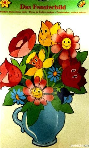 Decoratiune sticker pentru fereastra - vaza cu flori - imagine 1