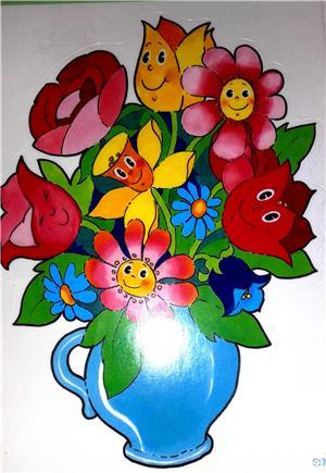 Decoratiune sticker pentru fereastra - vaza cu flori - imagine 2