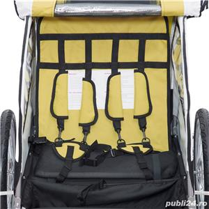Remorca de bicicleta Qaba - auriu-alb-negru - imagine 7
