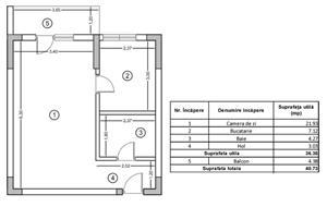 Garsoniera Militari Rosu decomandata 40 mp  - imagine 2