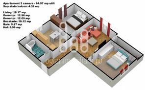 Apartament 3 camere cu pivnita, Calea Cisnadiei - imagine 4