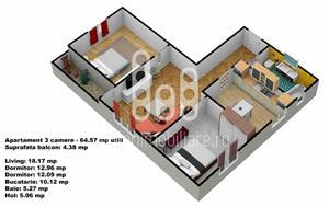Apartament 3 camere cu pivnita, Calea Cisnadiei - imagine 5