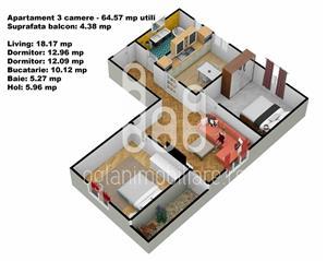 Apartament 3 camere cu pivnita, Calea Cisnadiei - imagine 7