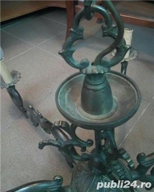 Candelabru masiv din bronz turnat 14 Kg - 85x77 antic perfecta stare - imagine 5
