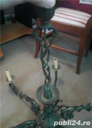 Candelabru masiv din bronz turnat 14 Kg - 85x77 antic perfecta stare - imagine 6