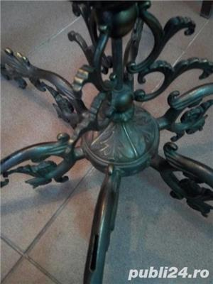 Candelabru masiv din bronz turnat 14 Kg - 85x77 antic perfecta stare - imagine 1