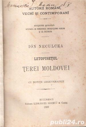 Letopiseţul Ţerei Moldovei de Ion Neculce 1897 - imagine 1