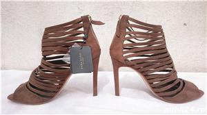 Pantofi dama de vara sandale toc elegante piele intoarsa Zara  - imagine 3
