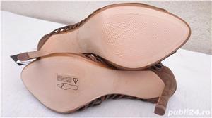Pantofi dama de vara sandale toc elegante piele intoarsa Zara  - imagine 4