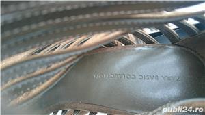 Pantofi dama de vara sandale toc elegante piele intoarsa Zara  - imagine 6