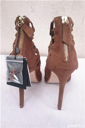 Pantofi dama de vara sandale toc elegante piele intoarsa Zara  - imagine 5